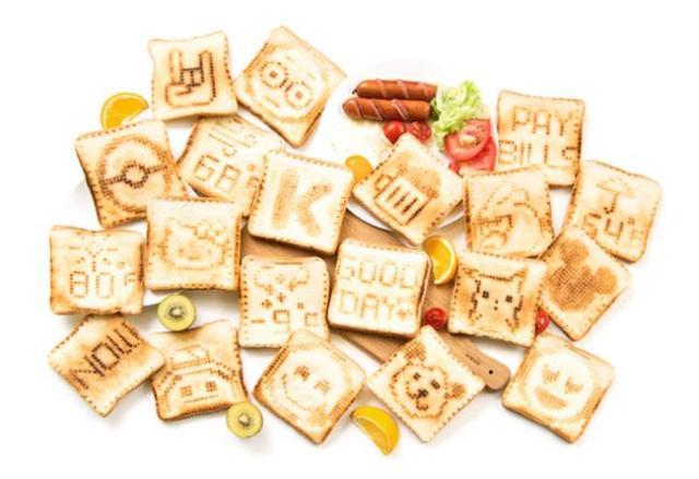 自分の好きな絵をパンに描けるトースターで朝食を楽しく! メッセージや天気も焼き付けてくれるよ♪
