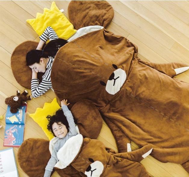 【全長258センチ】くまのがっこう寝袋セットに大人用ができたよー! 超ビッグなジャッキーと一緒におやすみ…zzz