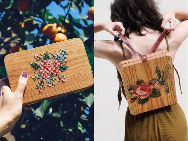 古典とモダンが融合した「木製バッグ」にひとめ惚れ! 小鳥やサボテン、パイナップルのクロスステッチにキュン☆