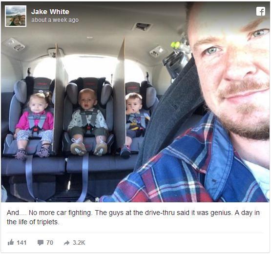 3つ子ちゃんと平和にドライブするためパパがとった対策とは? ネットには「我が家にもこれが必要だ」といった声も