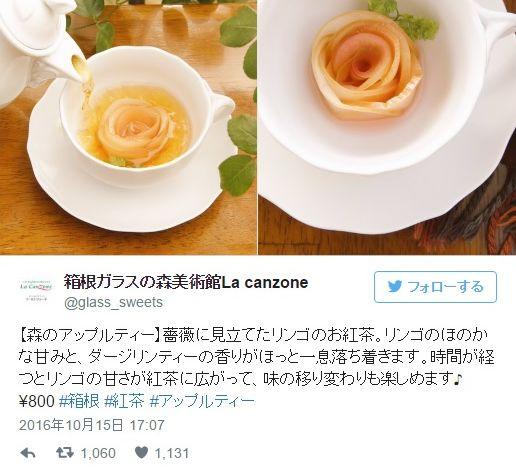 """箱根ガラスの森美術館で飲める「森のアップルティー」が芸術的! 紅茶を注ぐとリンゴでできた """"バラの花"""" が咲くよ♪"""