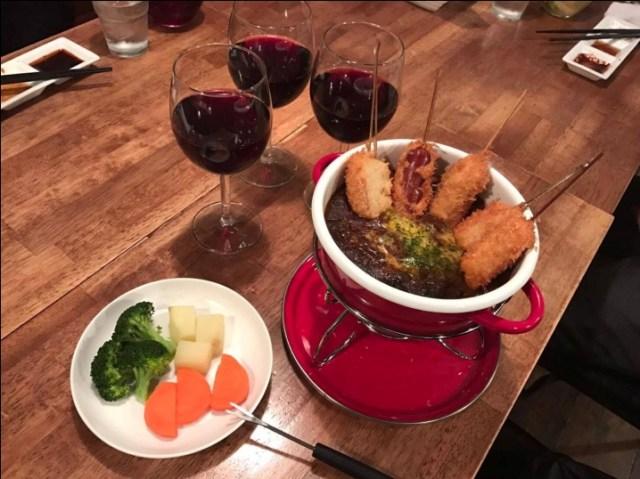 【さすが大阪】ボジョレー風味のソースで食べる「ボジョレーフォンデュ串鍋」が解禁! ソースは2度漬け大歓迎だよ★