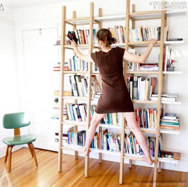 【思いつかなかった】本棚に「ハシゴ」をくっつけたら…すっごい機能的で美しい姿に! デザイン賞を取るほどの優れた家具になっちゃいました
