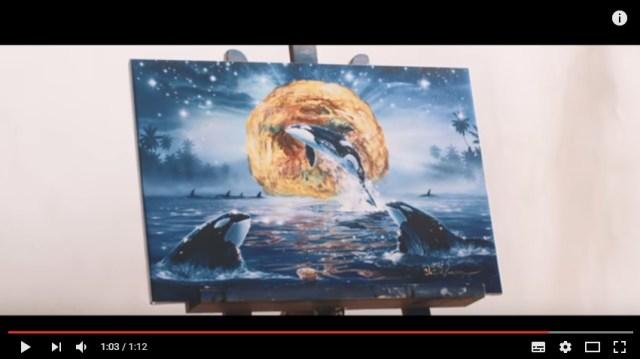 クリスチャン・ラッセンと日清どん兵衛が奇跡のコラボ!! シャチが泳ぐ神秘的な絵の中にかき揚げが混じってるよ〜