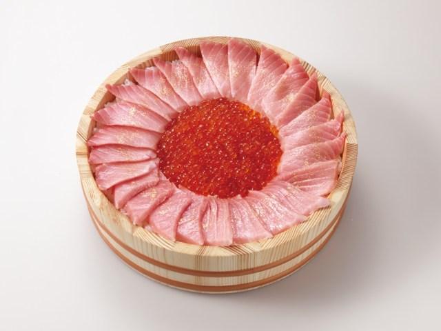 かっぱ寿司が1万円のお寿司を発売するって! いくら50貫分と大とろ25貫分が盛られた「至極の大桶SUSHI CAKE」