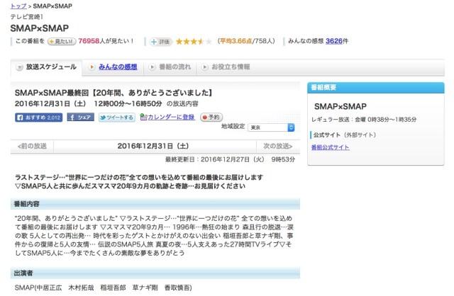 宮崎県ではスマスマ最終回が12月31日に放送される! 放送日がズレていることをどう思うか宮崎県民に聞いてみた
