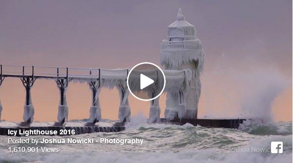"""【幻想的】まるで映画やアニメに出てきそうな""""凍れる灯台""""がアメリカに出現 / 荒れる波と凍てつく海が作りあげた自然の芸術品です"""
