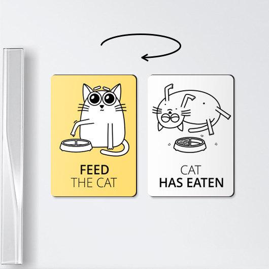 【これ便利】ネコがごはんを食べたか、一目瞭然!! Estyで売ってる「リマインダーマグネット」がアナログだけどめっちゃ使えそう!