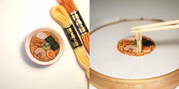 え、これって全部刺繍なの!? どこまでも繊細な「刺繍ラーメン」にビックリ仰天です / チャーシューや味玉などトッピングも完璧
