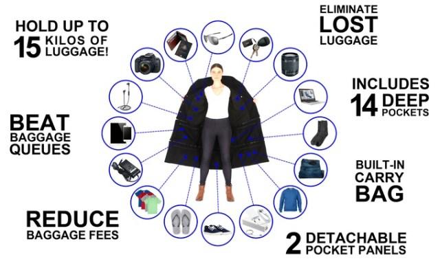 【海外旅行に超便利】見た目はフツーだけど15kgもモノを入れられるコート!! これならLCCでも荷物料金ナシで乗れそう♪