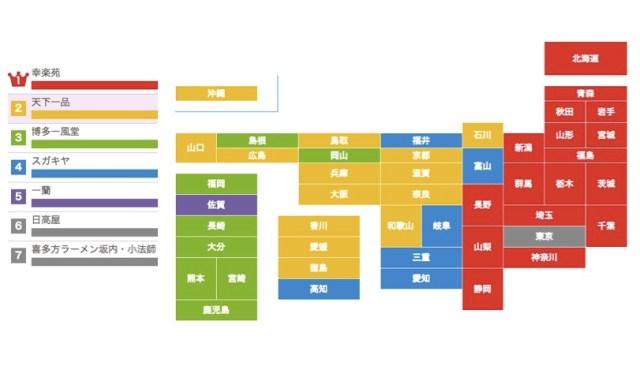 「ラーメンチェーン店」を都道府県別でみた結果 → 1番人気は「幸楽苑」だったけど…