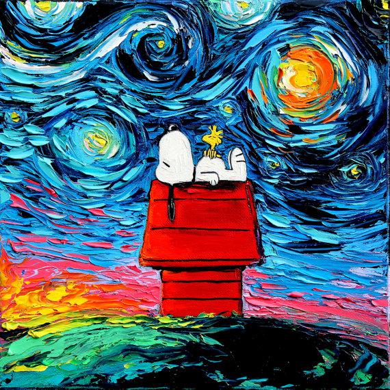 ゴッホの『星月夜』にスヌーピーやスポンジボブが…! カラフルポップでちょっぴり奇妙なアート作品が素敵です