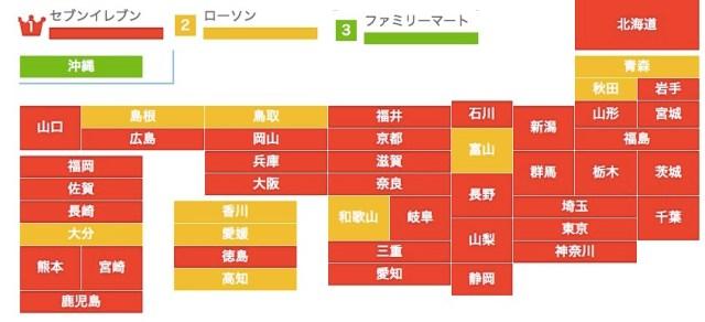 都道府県別「好きなコンビニ」はセブンイレブンが圧倒的人気 / がんばって!「ローソン」「ファミマ」