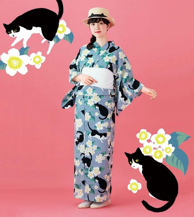 【猫てんこもり】この夏は「ハチワレ猫」デザインのレトロモダンな浴衣でお出かけしたーい♡