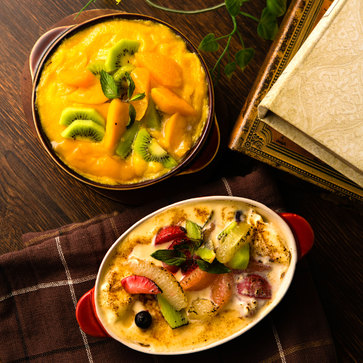 【グラタンかき氷】新食感「アイスグラタン」は果実&カスタードたっぷりで口のなかで冷たくとろけるんだって!