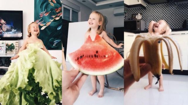 【マネしたい】野菜やフルーツのドレスを着こなす少女が可愛らしい / 表情やスタイルも華麗に決めています