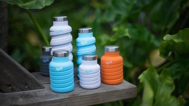 半分の大きさまで縮められる♪ 便利なうえにシャレオツなマイボトル「que Bottle」が日本初上陸!