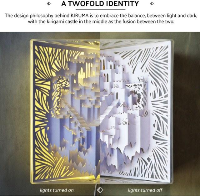 飛び出す絵本みたいな照明が幻想的! 切り紙を取り入れて「空に浮かぶ城」を表現しているよ
