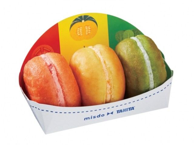 【ミスド×タニタ】野菜とフルーツを使ったドーナツ「べジポップ」がカラフルで美味しそう♪ クリームも豆乳を使ってるんだって