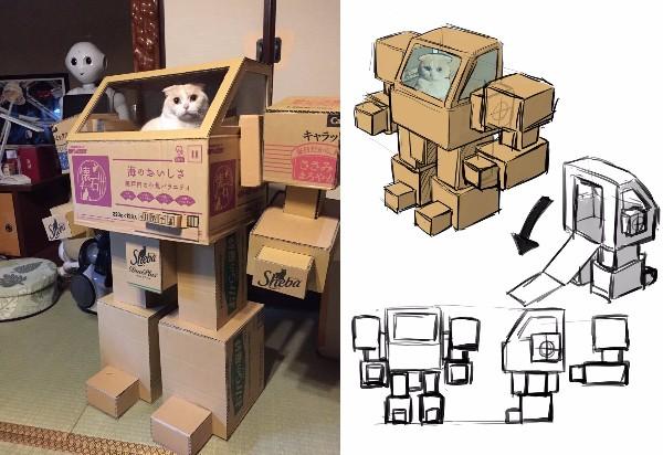 変形合体ニャッ! 夫婦で作った「猫用ロボット」がマジですごすぎる / パイロットの猫が乗り込んだらホントに動き出しそう!