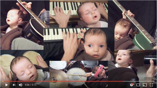 【パパの挑戦】ピアノを弾くと赤ちゃんが落ち着くのでいろんな楽器で試した結果…赤ちゃんが本気の真顔になることも