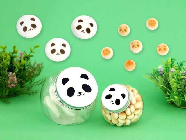 上野動物園のシャンシャンを意識? 「親子パンダのお菓子セット」がカワイイ♡ パンダの容器にパンダ顔のマシュマロ&ボーロがきっしり