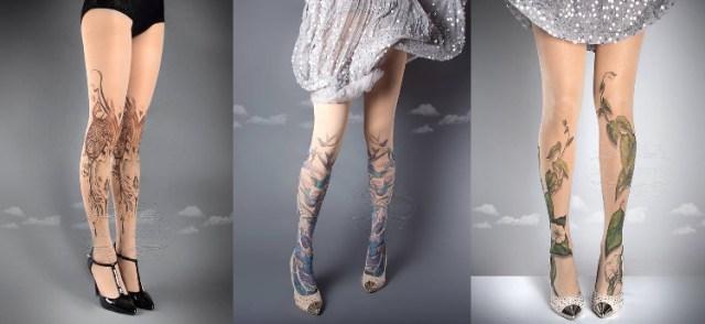 アートな雰囲気の「タトゥータイツ」が素敵♪ 浮世絵風のデザインもあって、シンプルなドレスに合わせたい