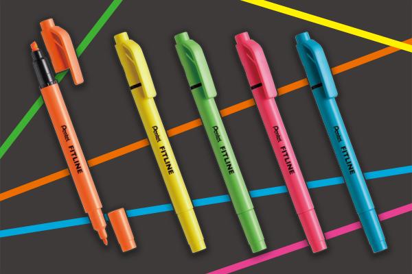 まっすぐキレイに線が引きやすい蛍光ペンがついに誕生ーーーっ! ぺんてるからめちゃ便利そうな「フィットライン」が発売されました