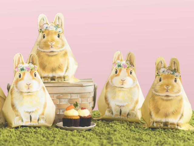 ウサ耳がピョコンと立つぅううー! ゴージャスな花冠をのっけたウサギの「おすそわけ袋」がほんわかキュートです♪