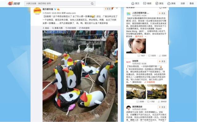 【生きてすらいない】中国の動物園で「風船のペンギン」が展示されて物議を呼ぶ / 他の動物もひどくて即閉園!