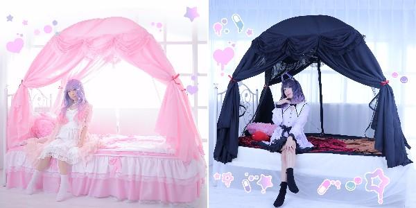 """【乙女の夢】お部屋に """"天蓋ベッド""""が組み立て式で簡単に実現しちゃう! 夢かわor闇かわ、どっちのプリンセスにあこがれる?"""