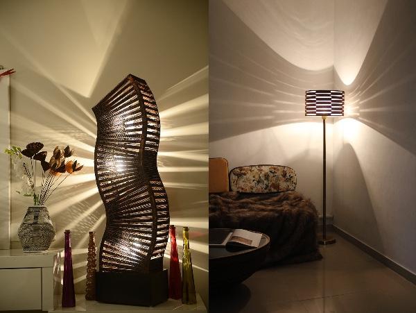 素材はリサイクルダンボール!! まるで影絵のように美しいランプシェードがありました