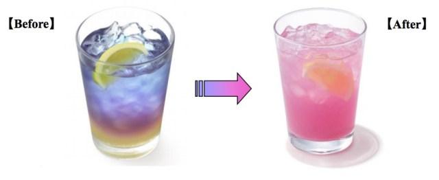 【オシャレ!】モスバーガーから混ぜると色が変化する不思議ドリンク「ラベンダーレモネード」が発売されるよおお! これは動画で録りたいっ♪