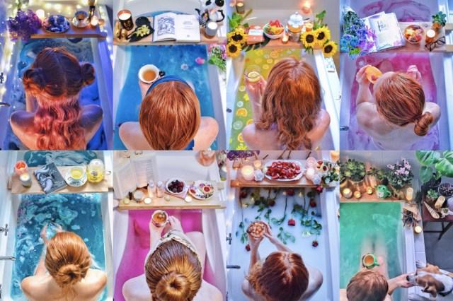 """いつものお風呂を """"特別なバスタイム"""" に♪ カラフルなバスボムと小物で完成させる「バスタイムショット」が気持ちよさそうです"""