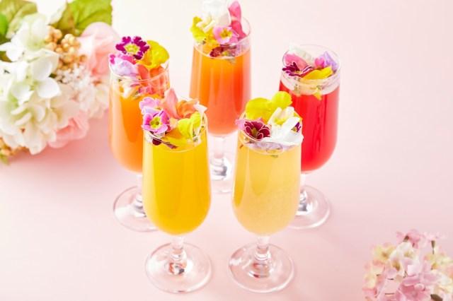 こんなに可愛いビール飲み放題があるなんて…! 色とりどりのお花が浮かんだ「花ビールフェア」が開催されます