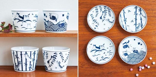 THE和風な猫の「そばちょこ」と「豆皿」にほっこり♡ ニャンコに見つめられながら食事ができます