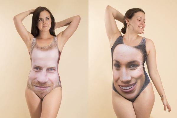 ヘンリー王子&メーガンさんをモデルにした水着のクセがすごい!! 水着に顔面がでかでかとプリントされていまする…