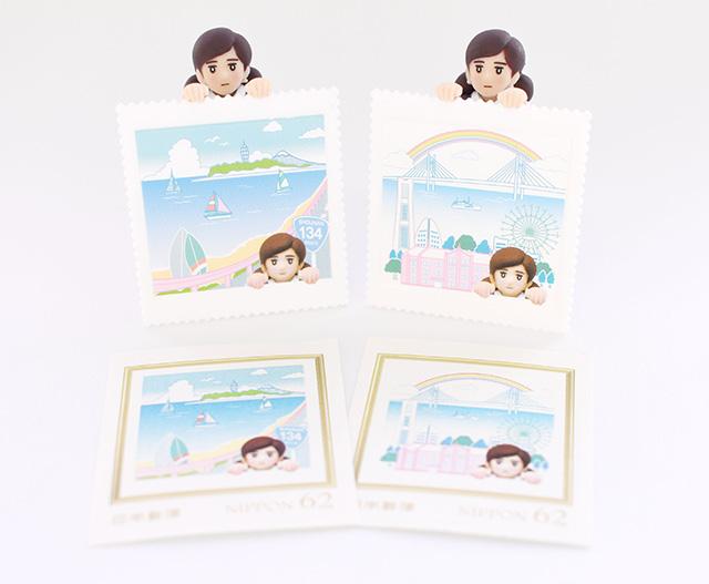 【初コラボ】コップのフチ子が制服を着た郵便局員に! 横浜と湘南の風景が入った切手がセットになってレア度高しです