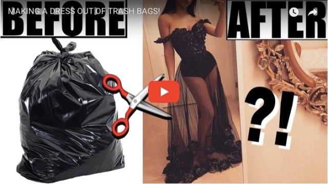 【衝撃】ゴミ袋でファビュラスなドレスを作っちゃった! 黒いゴミ袋が薔薇いっぱいのドレスに大変身します