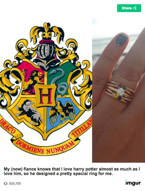 婚約者がくれたのは大好きな「ハリー・ポッター」デザインの指輪! ホグワーツにある4つの寮をイメージした宝石が入っています