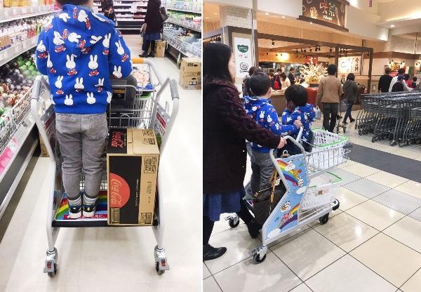 【発想すごい】子どもを2人乗せられる超画期的なショッピングカートが話題に!「全国のスーパーに導入してほしい~」とツイッターでも大絶賛の声