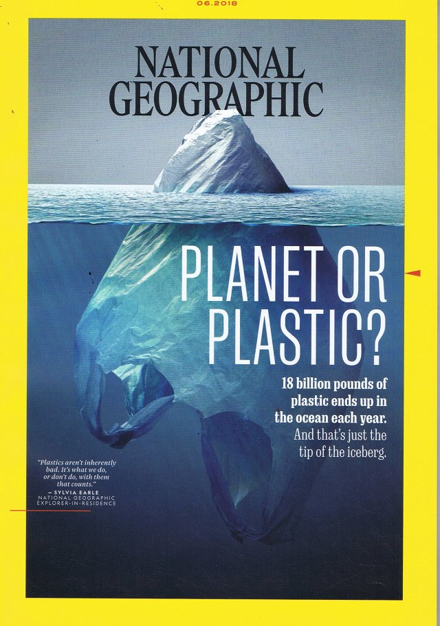 「氷山」に見えるけど実は「海に浮かぶレジ袋」…ナショナルジオグラフィック6月号の表紙は地球問題を一瞬で考えさせる素晴らしいデザインになっています