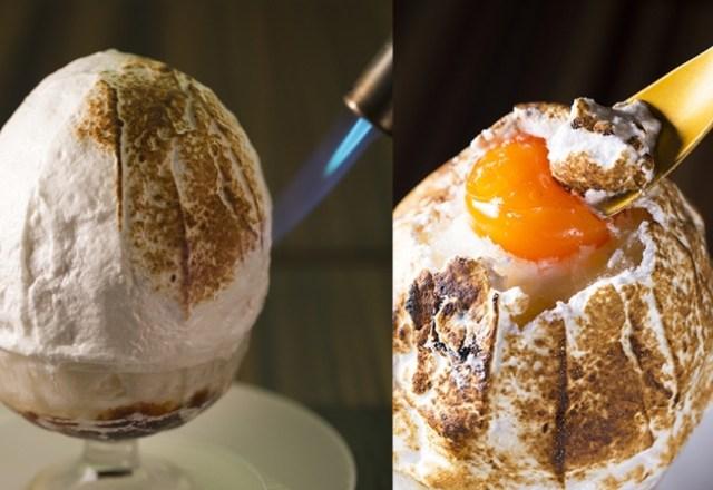【摩訶不思議】卵のカタチのかき氷「焼きたまご」が衝撃的!! 中から本物の卵黄みたいな濃厚ソースがとろ~り流れ出します♡