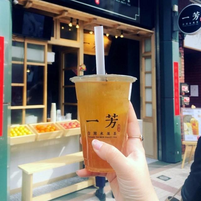 【台湾茶スタンド飲み比べ】「一芳(イーファン)」のおすすめはフルーツティー! カットフルーツがそのまま入っているのです☆