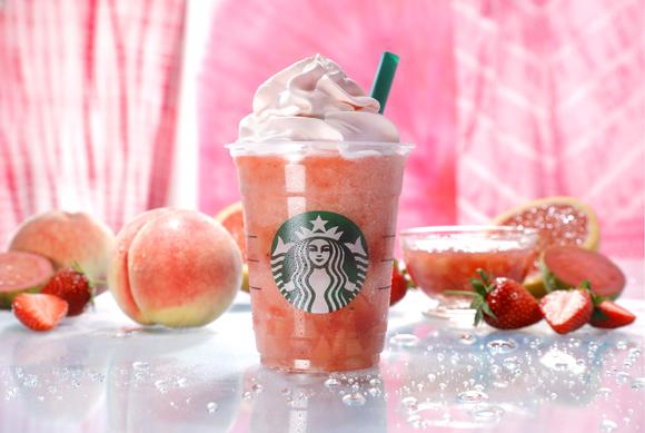 【スタバ新作】桃の果汁と果肉たっぷり「ピーチ ピンク フルーツ フラペチーノ」がめちゃうまそおおお! ホイップクリームまでピンク色です♡