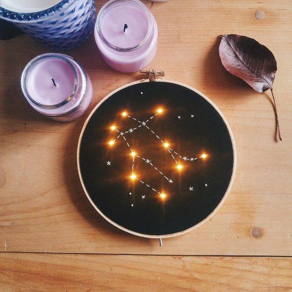 【不思議かわいい】星座や宇宙人、UFOの刺繍が…LEDで光る! 独特のセンスを持った刺繍アートを発見したよ☆
