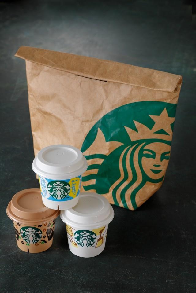 スタバの保冷バッグが紙袋風デザインででかわいい〜! プリン3個とのセットで限定発売中だよ
