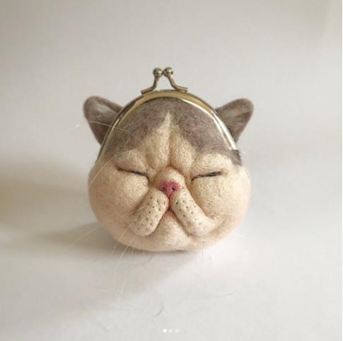 【日本の匠】超リアルな犬・猫の羊毛フェルト作品! それが「がま口」になっちゃってかわいすぎて大悶絶♪