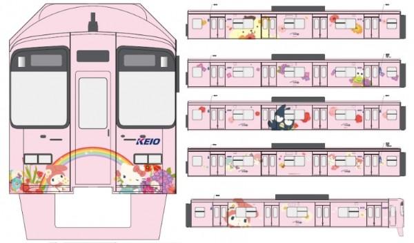 【本日から】細かい所までサンリオワールド全開! 京王線&都営新宿線にピンク色の「サンリオのラッピング電車」が登場するよ〜!