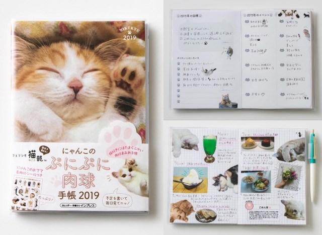 予定表もフリーページも猫まみれ♪ フェリシモ猫部の「にゃんこのぷにぷに肉球手帳2019」が悶絶級のかわいさです